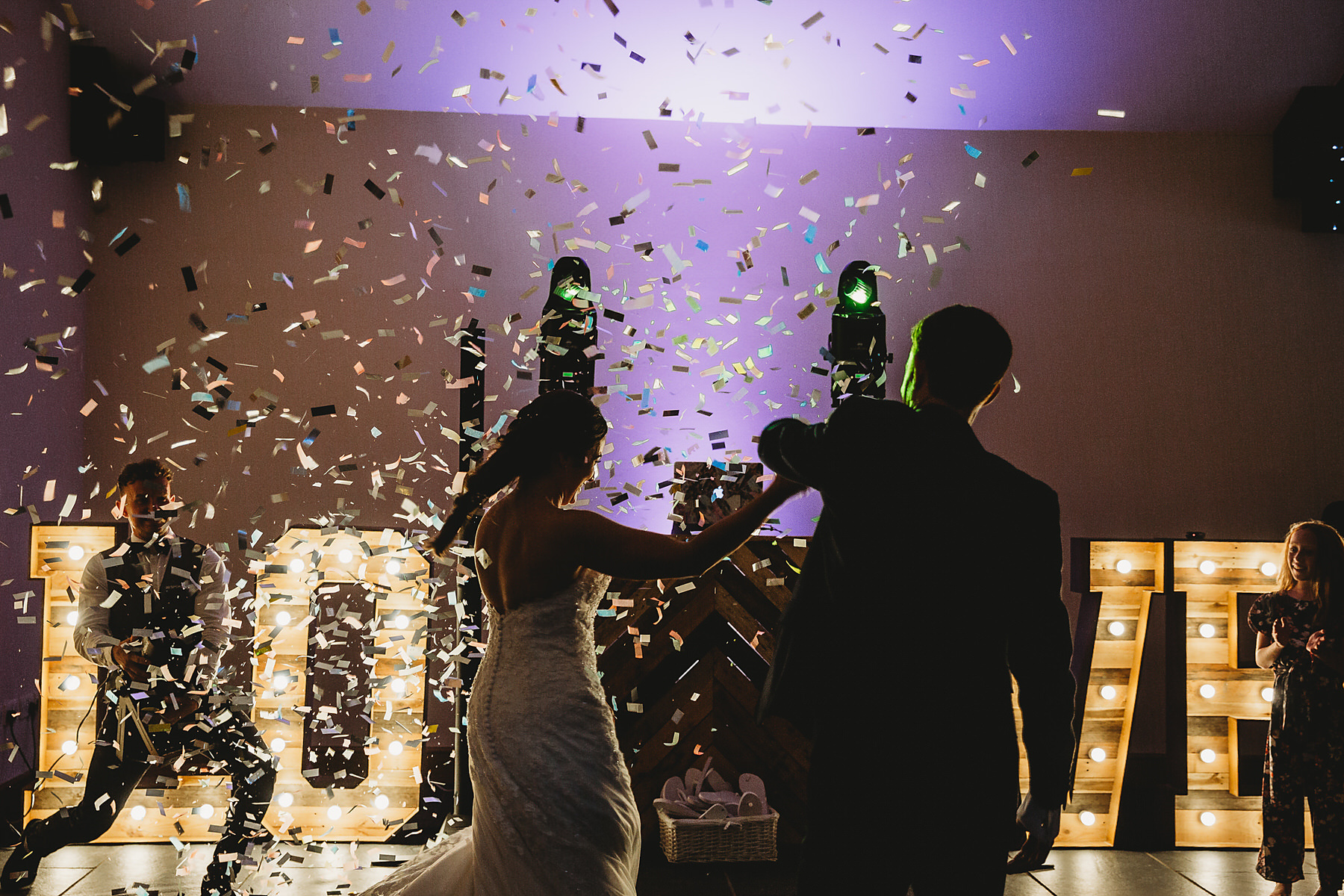 confetti cannon on first dance at Quantock Lakes
