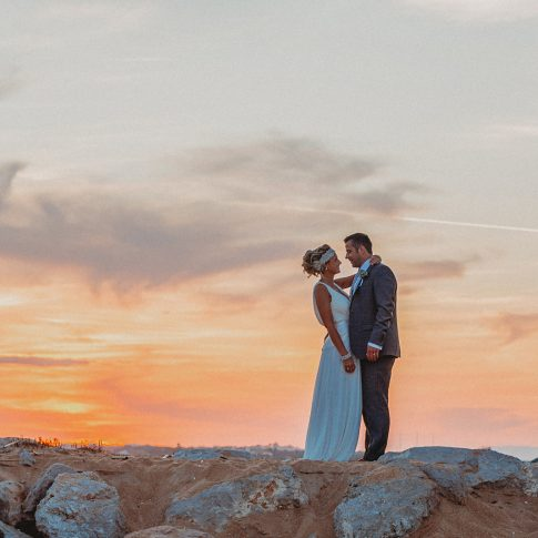Algarve sunset couple on beach