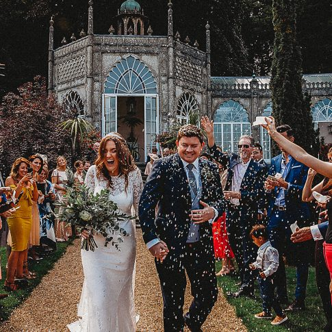 Sezincote House wedding confetti bride and groom
