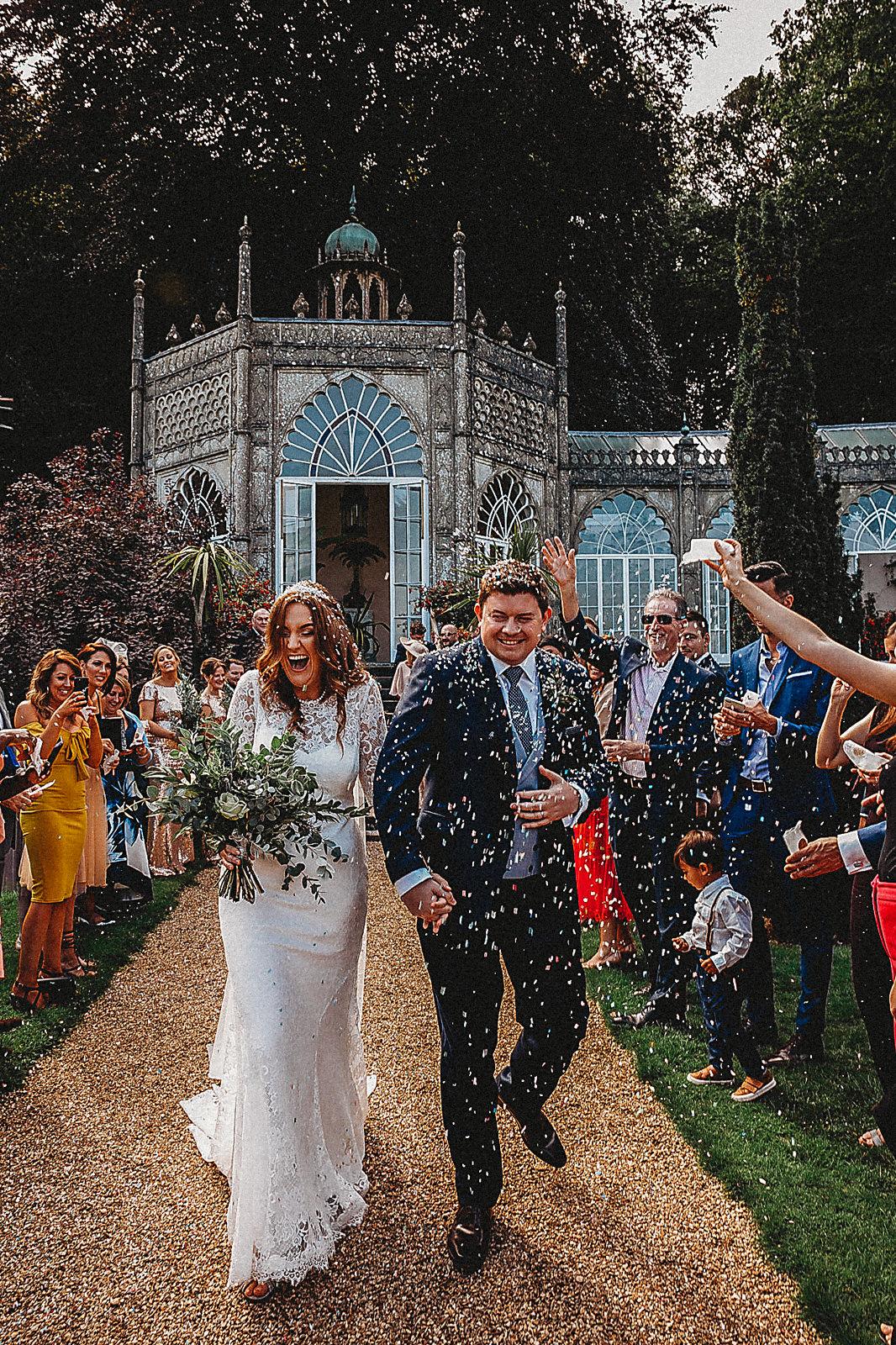 Sezincote House wedding confetti bride and groom