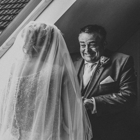 Dad emotional first look Somerset wedding photographer