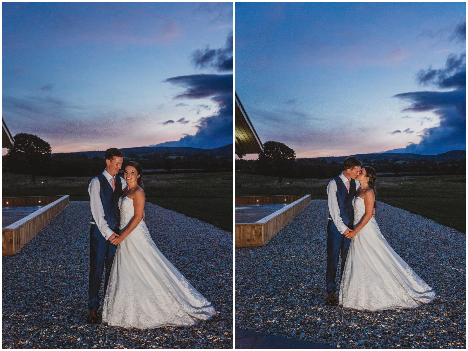 dusk portraits of bride and groom